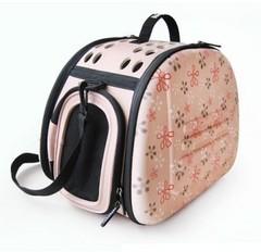 Складная сумка-переноска для собак и кошек до 6 кг, Ibiyaya, бледно-розовая в цветочек