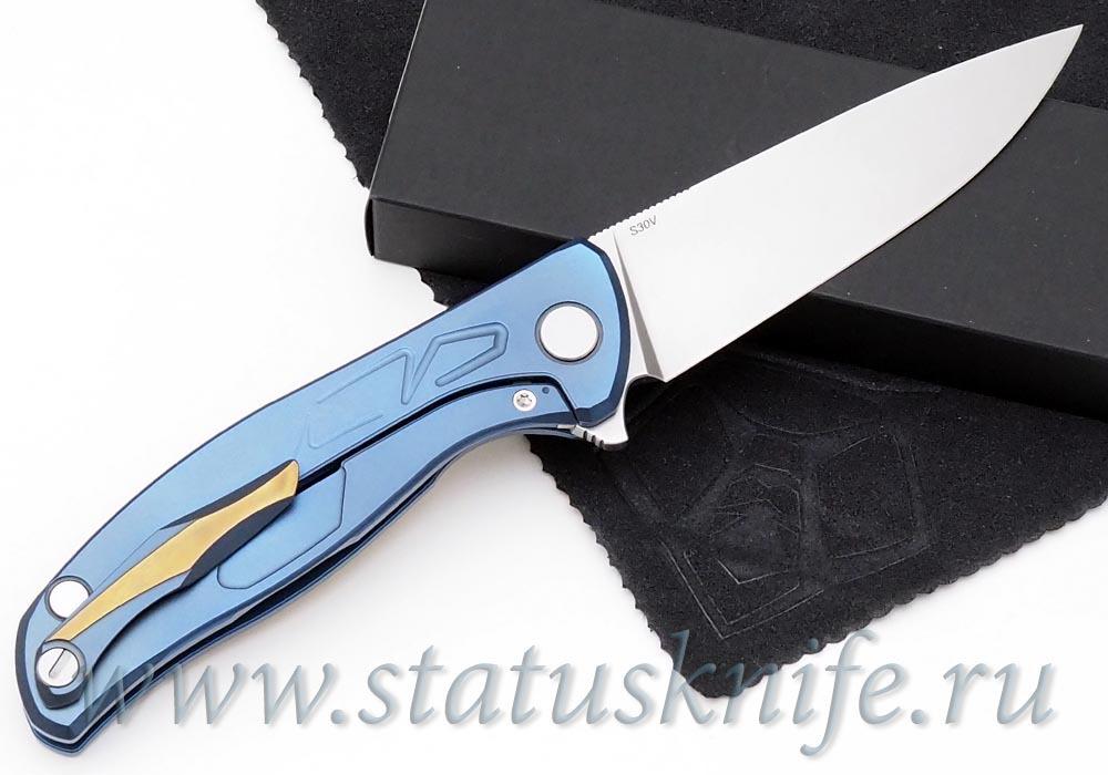 Нож Широгоров Флиппер 95 S30V сине-золотой КАСТОМ