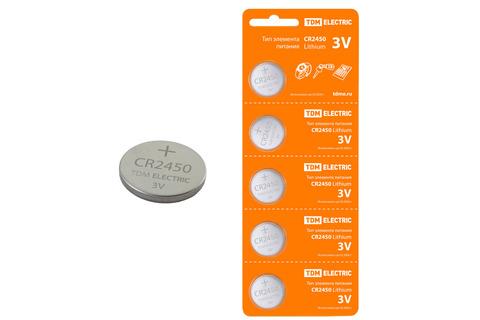 Элемент питания CR2450 Lithium 3V BP-5 TDM