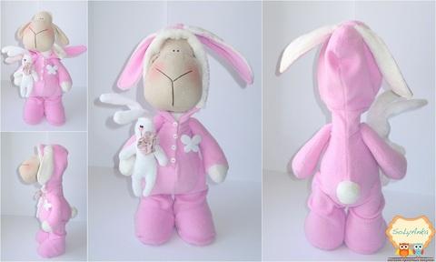 """Пижамная овечка """"зайчик"""" розовая"""