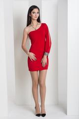 Санта. Великолепное платье на одно плечо. Красный