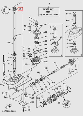 Сальник вертикального вала 22*36*6 для лодочного мотора Т30 Sea-PRO (17-28)
