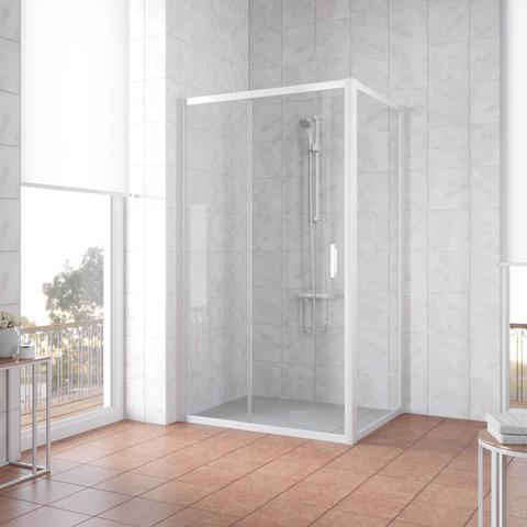 Душевой уголок Vegas Glass ZP+ZPV профиль белый, стекло прозрачное