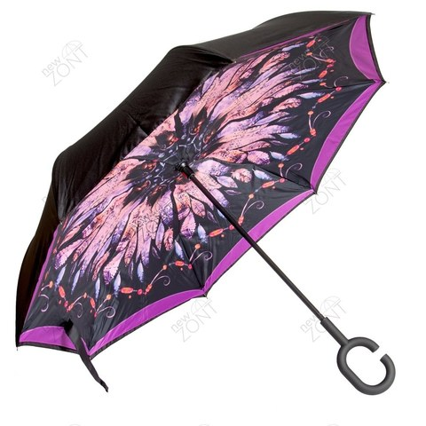 Анти зонт павлиний хвост малиновый механика