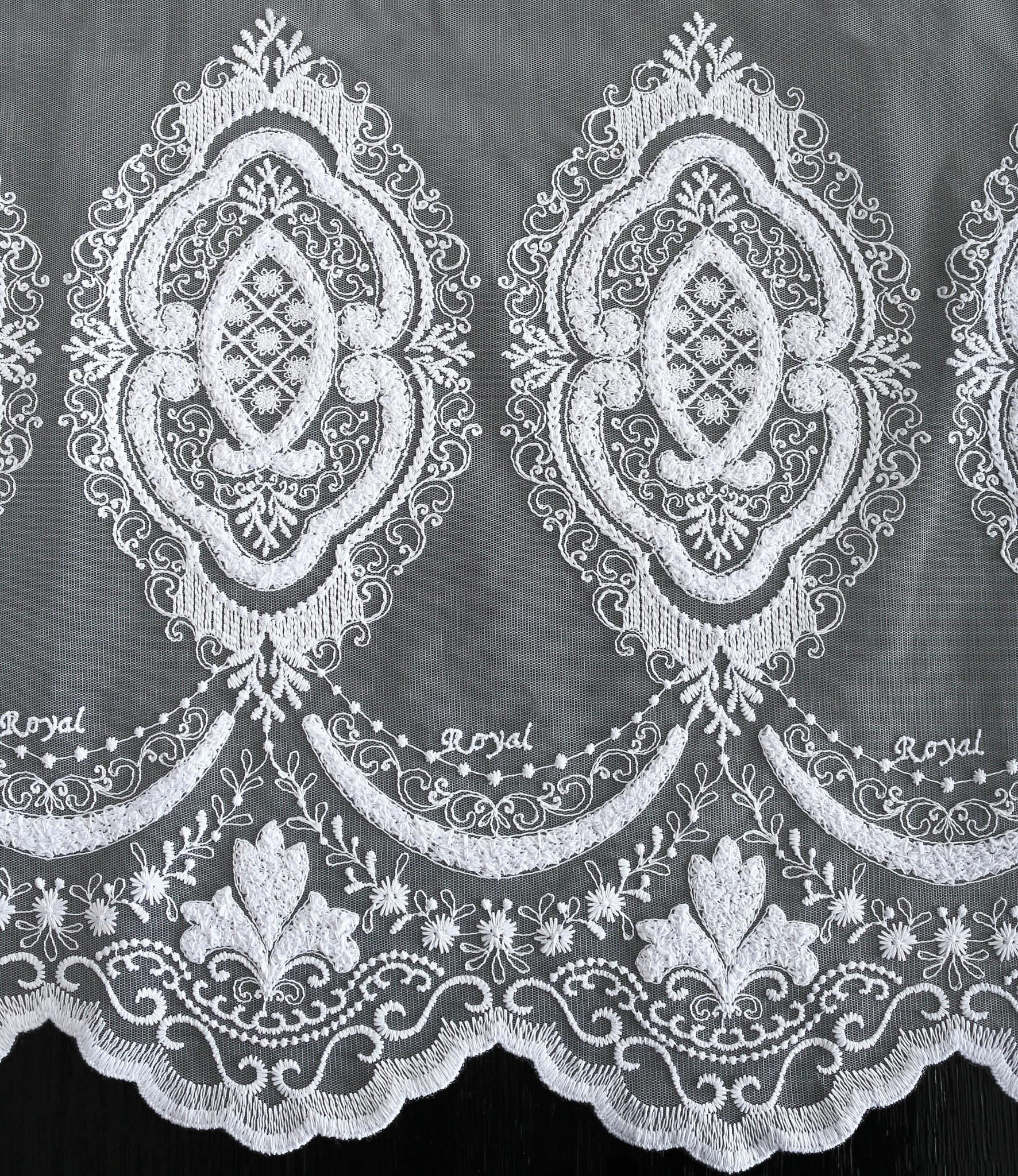 Микросетка с вышивкой Лотос (белая)
