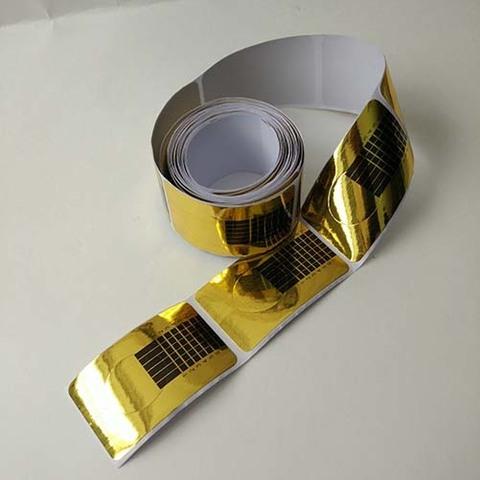 Формы для наращивания золотые прямоугольные узкие 50 шт