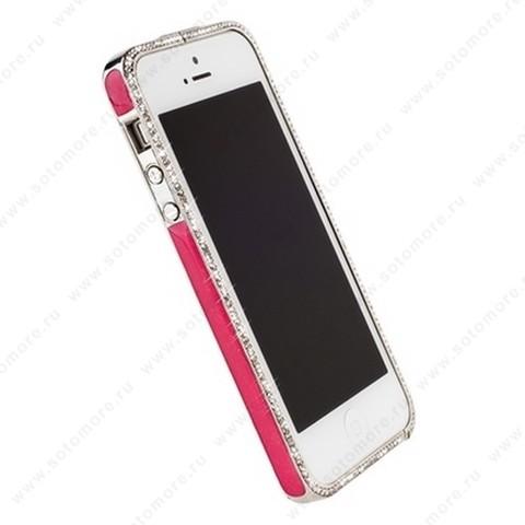 Бампер Newsh металлический для iPhone SE/ 5s/ 5C/ 5 со стразами ярко-розовый