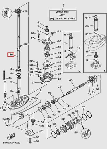 Вертикальный вал для лодочного мотора Т30 Sea-PRO (17-36)
