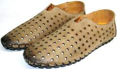 Мокасины из кожи мужские Luciano Bellini 107703 Beige.