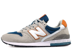 Кроссовки Мужские New Balance 996 Grey Suede Navy Orange