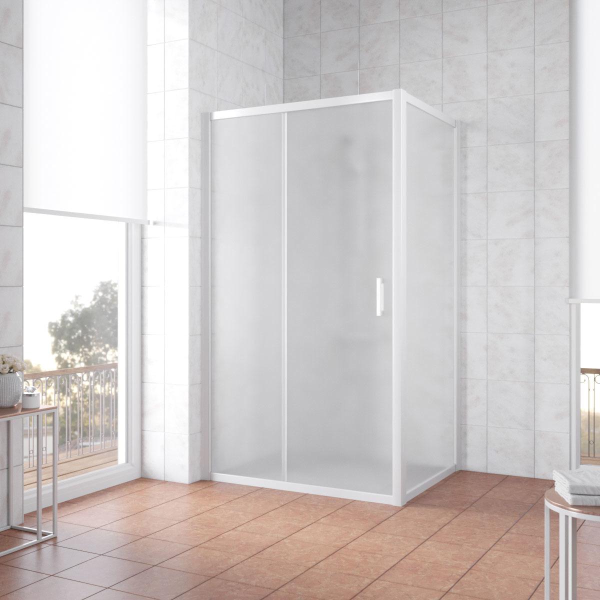Душевой уголок Vegas Glass ZP+ZPV профиль белый, стекло сатин