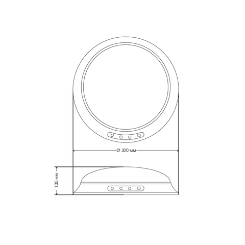 Круглые накладные аварийные светильники PL CL 1.0 – размеры светильника