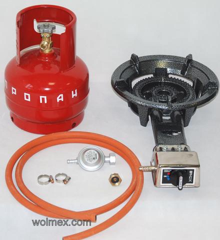 Комплект 37. Горелка газовая Wolmex CGS-8,5R1 с металлическим баллоном и редуктором EN61 - Shell