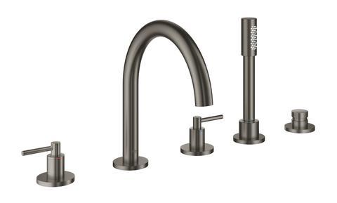 Atrio New Комлект для ванны на 5 отверстий (смеситель двухвентильный, круглый излив, рукоятки-рычаги,  ручной душ, переключатель), Графит