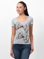009644-2 футболка женская, серо-коричневая