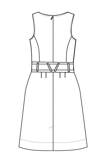 Выкройка сарафана с рельефами и расклешенной юбкой спинка