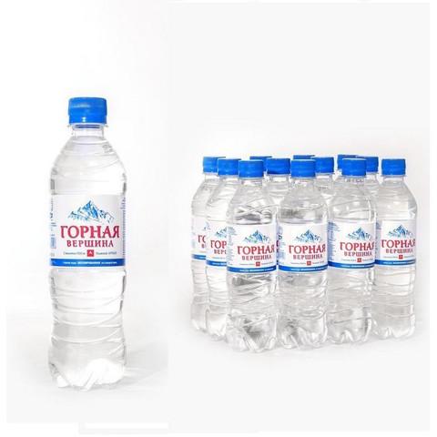Вода минеральная Горная вершина негазированная, 0,5 л, ПЭТ, 12 шт./уп