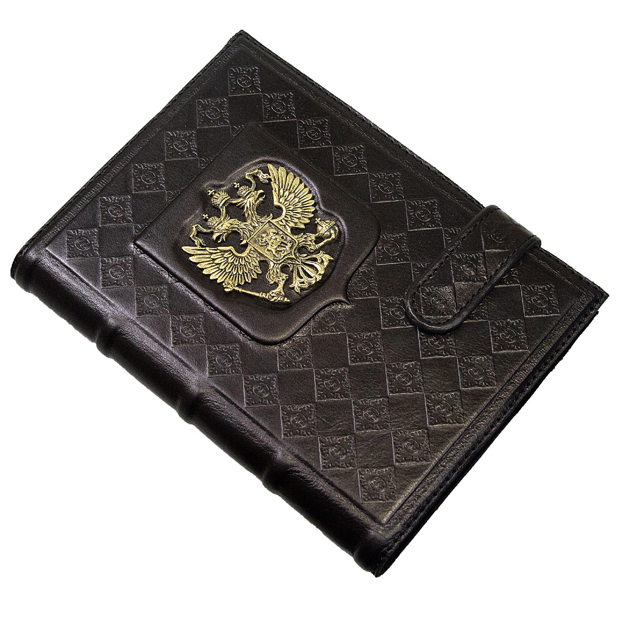 Ежедневник кожаный А5 «Россия с гербом» черный А80503