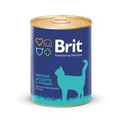 Консервы для кастрированных котов, Brit Premium, мясное ассорти с птицей