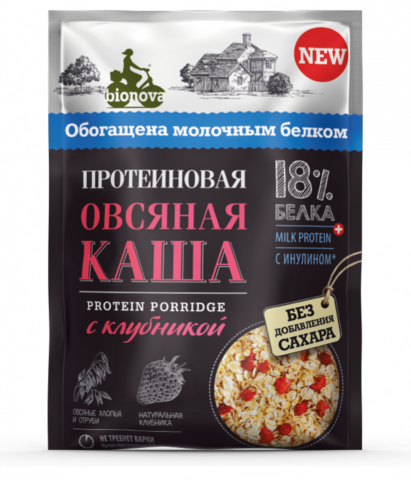 Протеиновая овсяная каша Bionova с клубникой (milk protein), 40 г