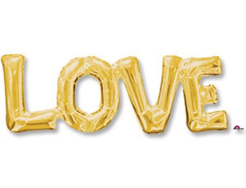 Фольгированная надпись LOVE золотая
