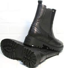 Ботинки челси женские черные Jina 7113 Leather Black.