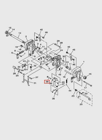 Ось замка наклона  для лодочного мотора T15, OTH 9,9 SEA-PRO (13-39)