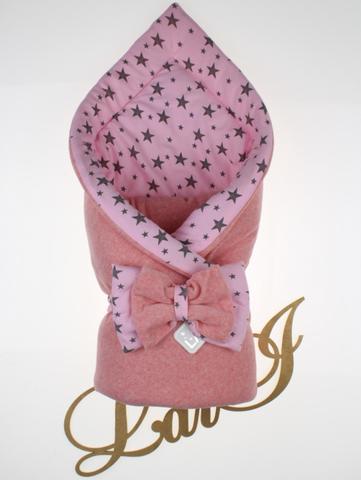 Велюровый демисезонный конверт на выписку из роддома Звездопад (розовый меланж)
