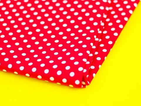 Тканина бавовна, Let's make відріз 15x40 см. Малюнок - білий горошок на червоному 324529683