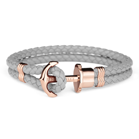 Leather Rose Gold Bracelet Grey