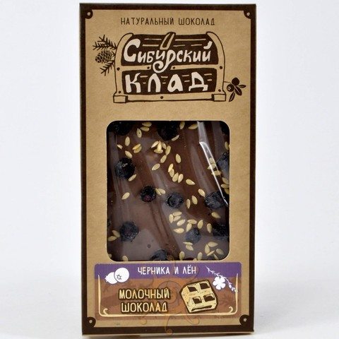 Шоколад молочный с черникой и льном Сибирский Клад, 100г