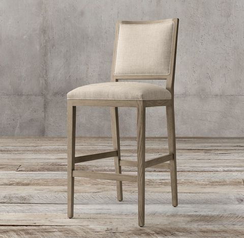French Contemporary Square Fabric Stool