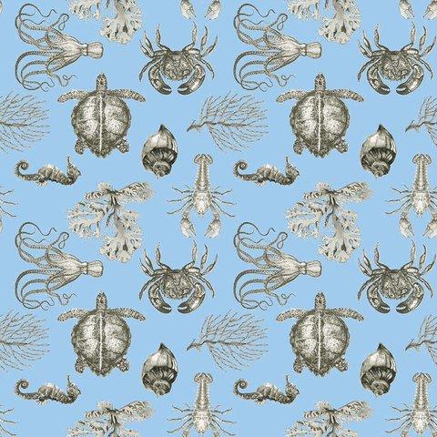 Детская портьерная ткань Подводный мир голубой