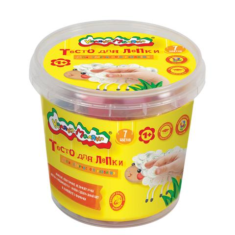 Тесто для лепки Каляка-Маляка® в банке, 7 цветов, 210 г, 2 формочки/ТЛБКМ-07/30