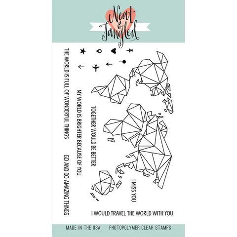 Набор силиконовых штампов Origami map