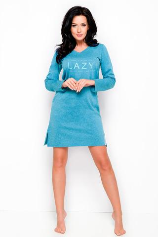 Ночная сорочка темно-голубая с длинным рукавом