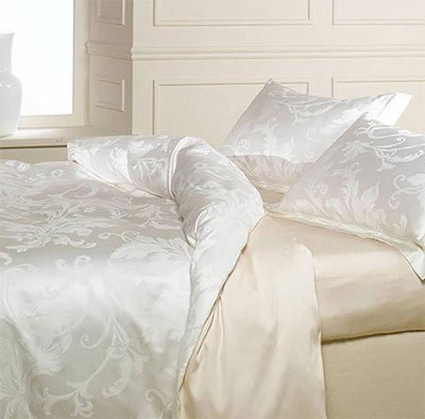 Постельное белье 2 спальное евро Caleffi Parsifal молочное