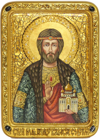 Живописная инкрустированная икона Святой князь Владислав Сербский 29х21см на кипарисе в подарочной коробке