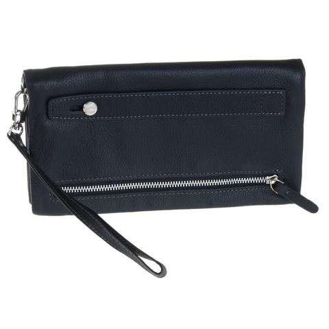 Практичный мужской чёрный кошелёк клатч из натуральной кожи с ремешком GALIB 7M053G