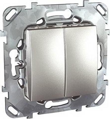 Выключатель двухклавишный проходной - Переключатель двухклавишный. Цвет Алюминий. Schneider electric Unica Top. MGU5.213.30ZD