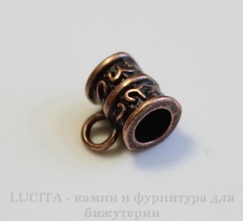 Бейл с узором 10х8 мм (цвет - античная медь) ,5 штук
