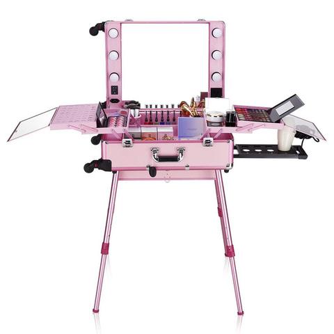 Бьюти кейс визажиста на колесиках (мобильная студия) LC004 Pink