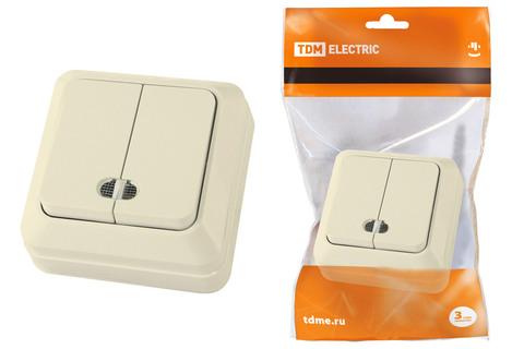Выключатель 2-кл. открытой установки с подсветкой IP20 10А, сл. кость