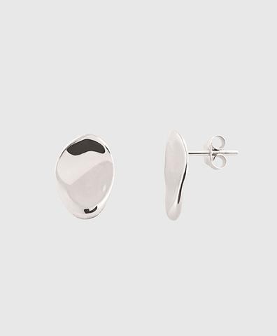Серебряные овальные серьги-пуссеты
