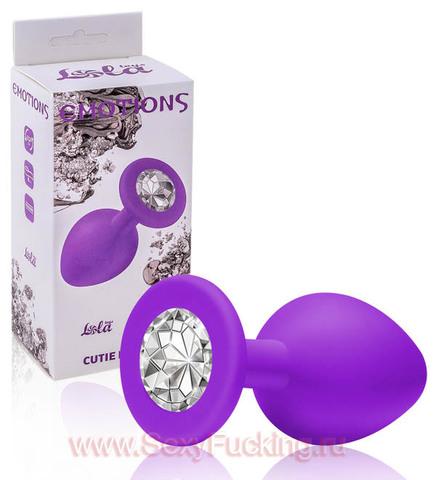 Анальная пробка с кристаллом Emotions Cutie Medium Purple clear crystal (3,3 х 8 см)