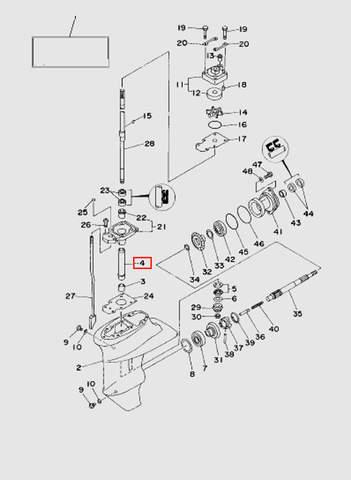 Втулка вертикального вала  для лодочного мотора T15, OTH 9,9 SEA-PRO (16-4)