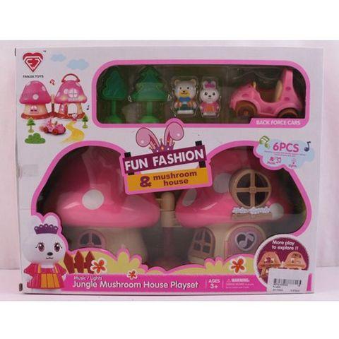 Игровой пластиковый домик Fun Fashion с машинкой и зверятами арт. FJ-605