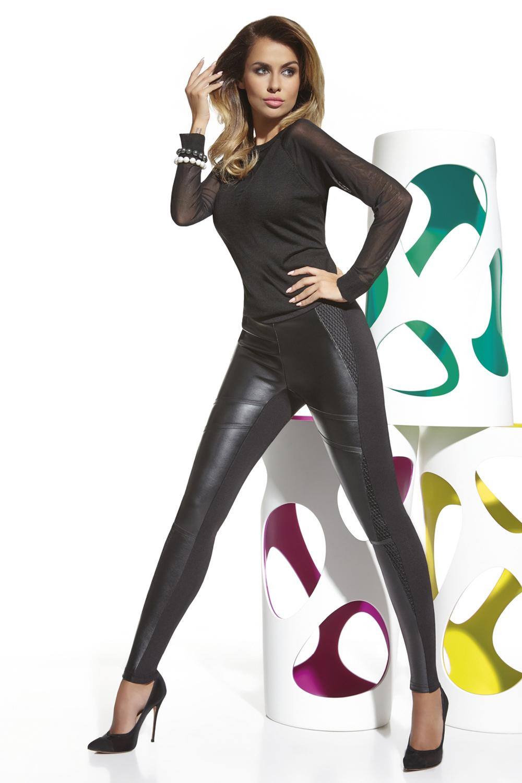 Легинсы черные с кожаными вставками (Легинсы)