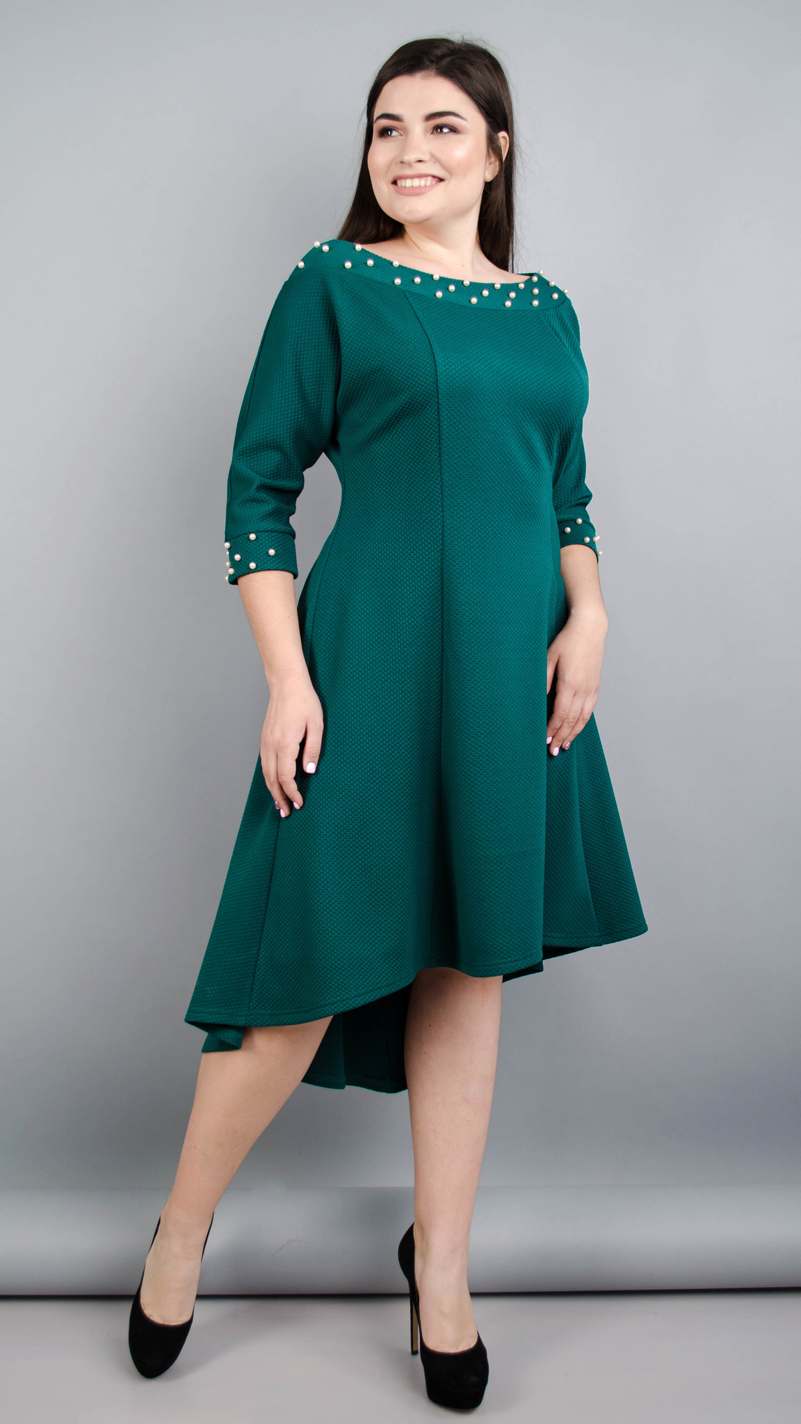 Лейла. Жіноча святкова сукня великих розмірів. Смарагд.