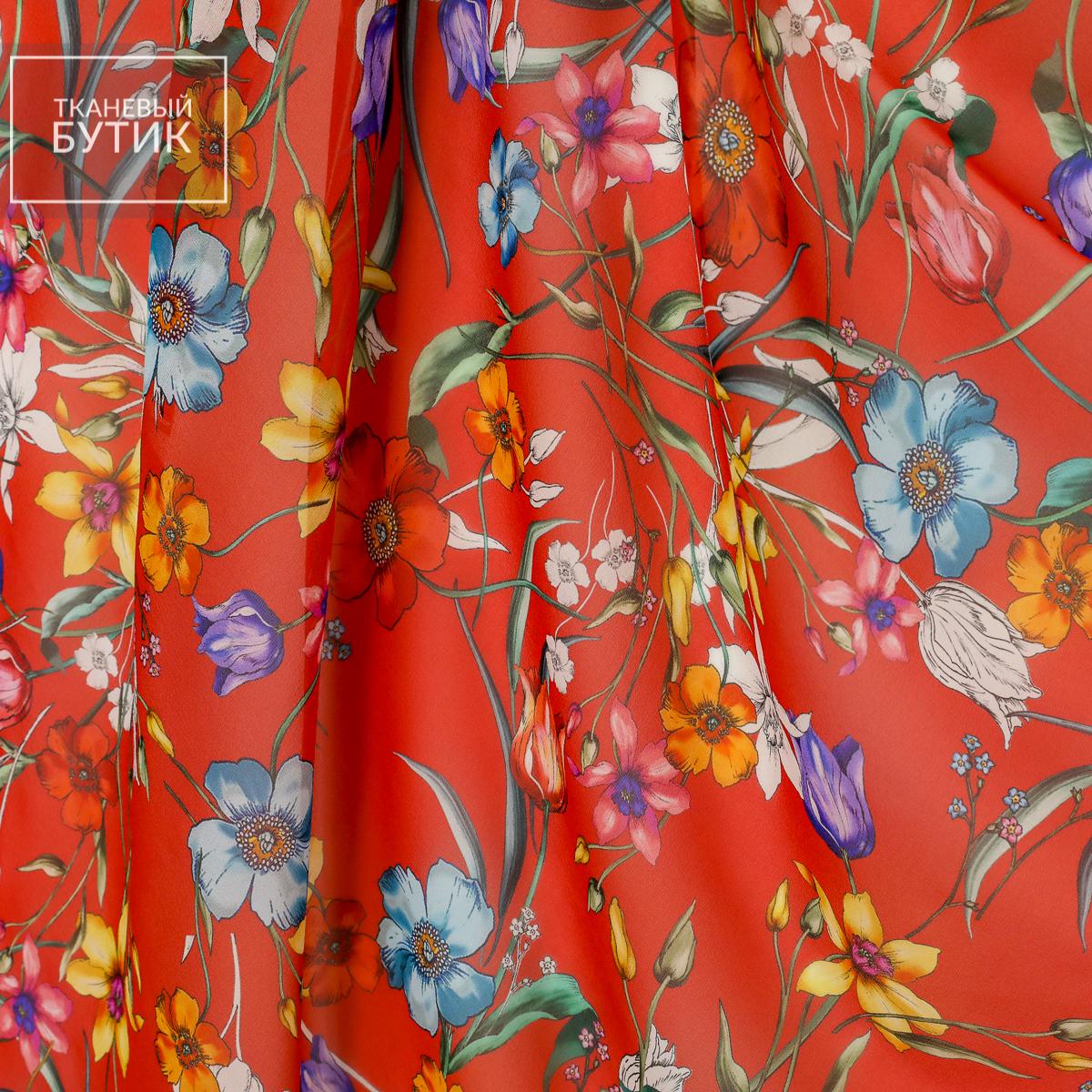 Красный шифон с изящным цветочным мотивом